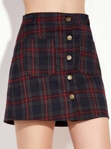 Plaid Button Front A-Line Skirt With Pocket