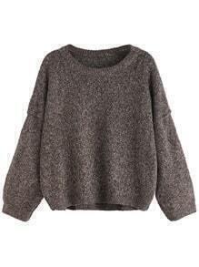 Khaki Round Neck Drop Shoulder Sweater