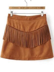 Brown Fringe Detail Zipper Back Suede Skirt