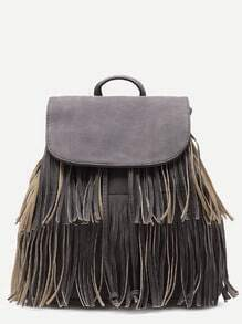 Grey PU Tassel Fringe Drawstring Backpack