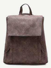 Coffee PU Front Zipper Flap Backpack