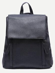 Black PU Front Zipper Flap Backpack