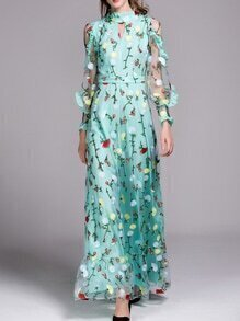 Green Sheer Ruffle Flowers Gauze Embroidered Maxi Dress