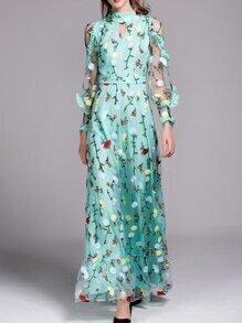Green Sheer Ruffle Flowers Gauze Embroidered Maxi Dress