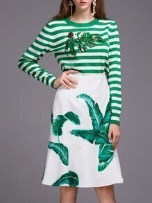 Green White Striped Leaves Sequined Top With Print Skirt