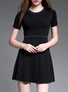 Black Crew Neck Knit A-Line Dress
