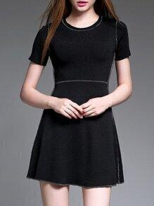 Black Crew Neck Knit A-Line Dress