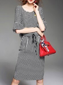 Black White Striped Bell Sleeve Drawstring Dress