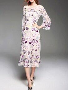 White Sheer Gauze Embroidered Long Dress