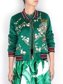 Green Collor Embroidered Zipper Coat
