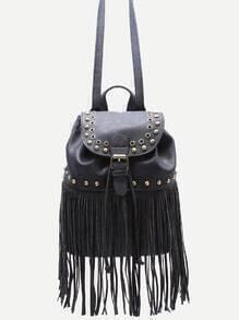 Black PU Tassel Fringe Studded Drawstring Flap Backpack