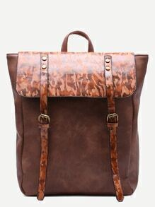 Brown PU Camouflage Trim Double Buckle Flap Backpack