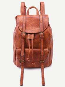 Brown PU Double Buckle Flap Pocket Drawstring Backpack