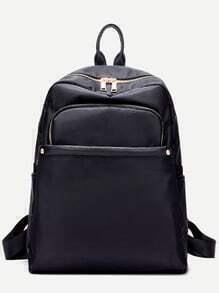Black Nylon Front Zipper Backpack