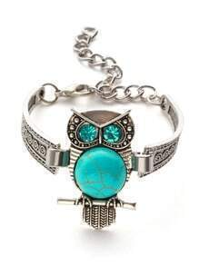 Silver Plated Turquoise Rhinestone Owl Bracelet