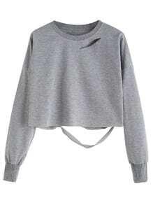 Camiseta hombro drapeado crop - gris claro