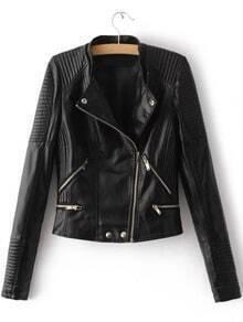 Black Oblique Zipper Quilted PU Jacket