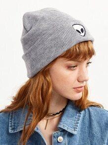 Grey Alien Embroidered Jersey Beanie Hat