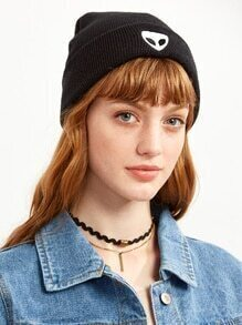 Black Alien Embroidered Jersey Beanie Hat