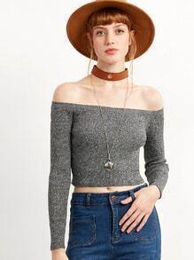 Grey Cold Shoulder Crop Sweater