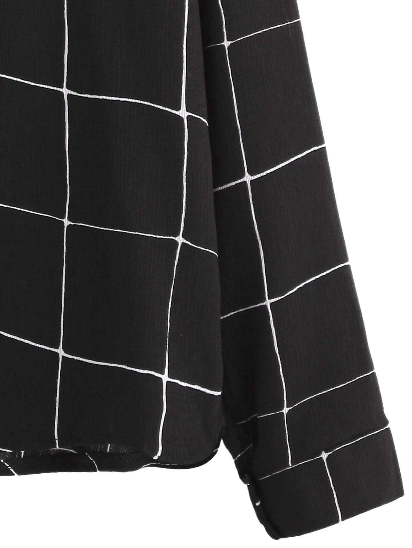 Blusa de cuadros con botones negro spanish romwe - Cuadros con botones ...
