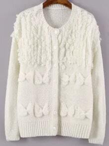 White Bow Embellished Button Up Cardigan