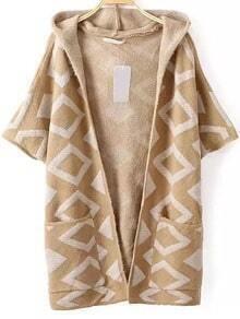 Khaki Diamond Pattern Elbow Sleeve Hooded Cardigan With Pockets