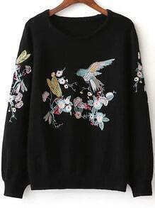 Black Bird Embroidery Raglan Sleeve Sweater