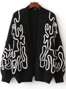 Black Batwing Sleeve Open Front Cardigan
