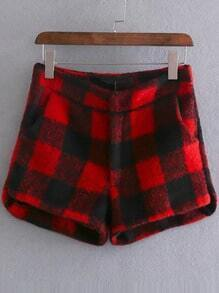 Red Plaid Shorts With Pockets