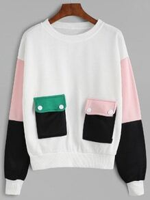 Color Block Pockets Sweatshirt