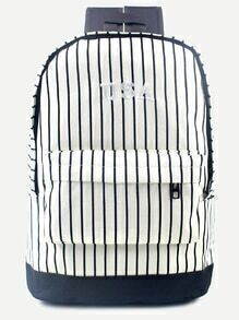 White USA Canvas Navy Stripe Front Zipper Backpack