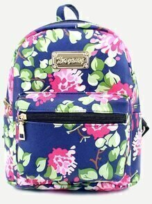 Blue Floral Print Front Zipper PU Backpack