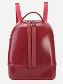 Red Zip Closure Double Strap PVC Backpack