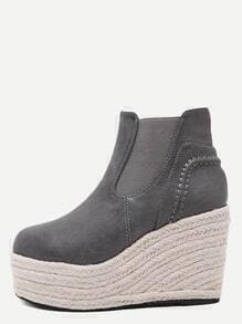 Grey PU Espadrille Wedge Heel Ankle Boots