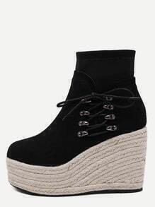 Black Faux Suede Lace Up Espadrille Wedge Heel Boots