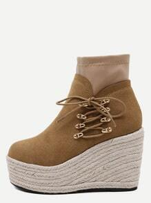 Brown Faux Suede Lace Up Espadrille Wedge Heel Boots