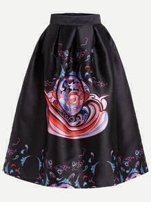 Black Printed Midi Skirt With Zipper