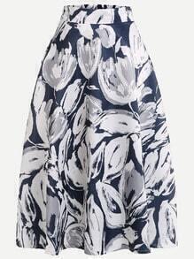 Blue Abstract Print Zip Skirt