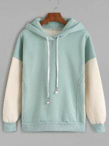 Green Contrast Sleeve Drawstring Hooded Sweatshirt