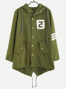 Army Green Letter Print Back Drawstring Hooded Coat