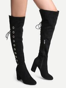 Black Point Toe High Heel Knee Boots