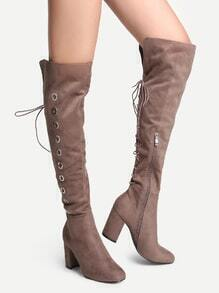 Khaki Point Toe High Heel Knee Boots
