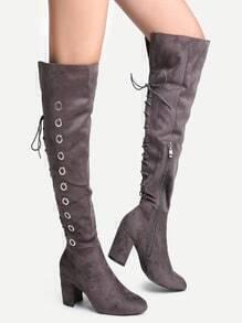 Grey Point Toe High Heel Knee Boots