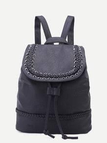 Black PU Studded Drawstring Flap Backpack