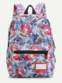 Casual Girl Print Nylon Backpack