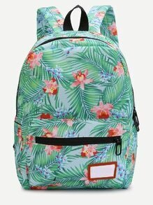 Casual Plant Print Nylon Backpack