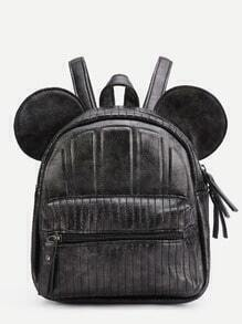 Black Faux Leather Front Zipper Backpack With Ear