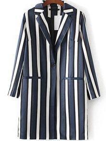 Blue Vertical Striped Single Button Long Blazer