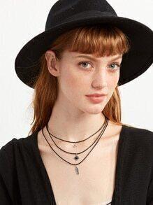 3PCS Black Faux Pearl Pendant Necklace Set